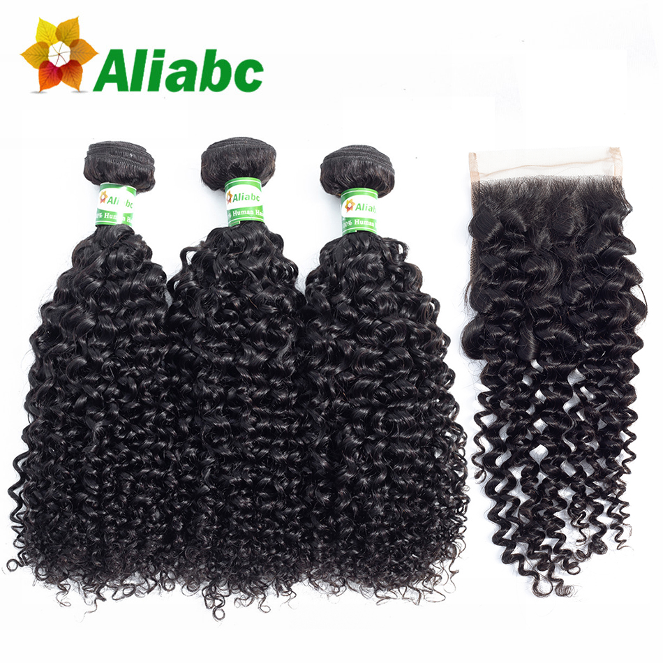 Aliabc Hair Brazilian Kinky Curly 100 Human Hair Weave 3 Bundles With Lace Closure Natural Color