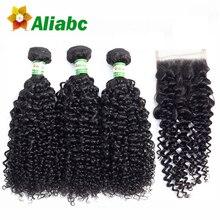 Aliabc الشعر البرازيلي غريب مجعد 100% نسج على شكل شعر إنسان 3 حزم مع الدانتيل إغلاق اللون الطبيعي غير تمديدات شعر ريمي
