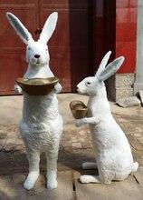 Большой моделирования кролик игрушка полиэтилена и меха Золотой слиток модель кролика куклы