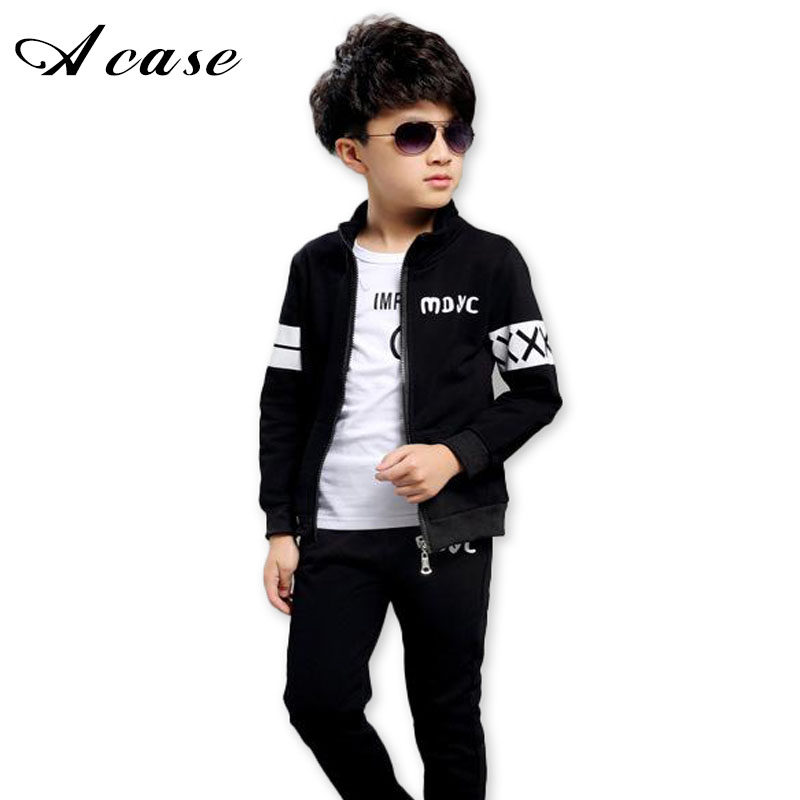 New Spring Autumn 2018 Baby Boy Clothing Set Black Boy Sports Suit School Uniforms Children Outfits Tracksuit Clothes 5-15 Years kimocat boy and girl high quality spring autumn children s cowboy suit version of the big boy cherry embroidery jeans two suits