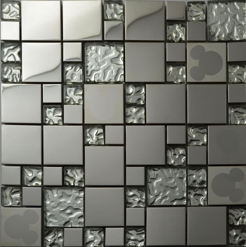 Wallpaper Tiles For Kitchen: Silver Glass Kitchen Backsplash Tile Stainless Steel Glass