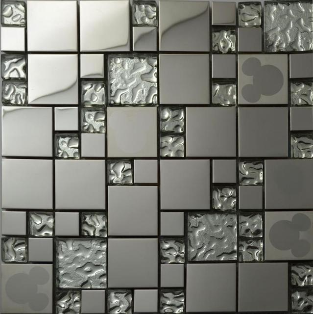 Silver Glass Kitchen Backsplash Tile Stainless Steel Glass Mosaic Tiles  Random Mickey Mouse Pattern Bathroom Mirror
