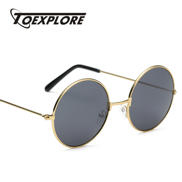 TOEXPLORE steampunk metal Frame Sunglasses Men Women Brand Designer Glasses Round Mirror Eyewear Fashion High Quality UV400