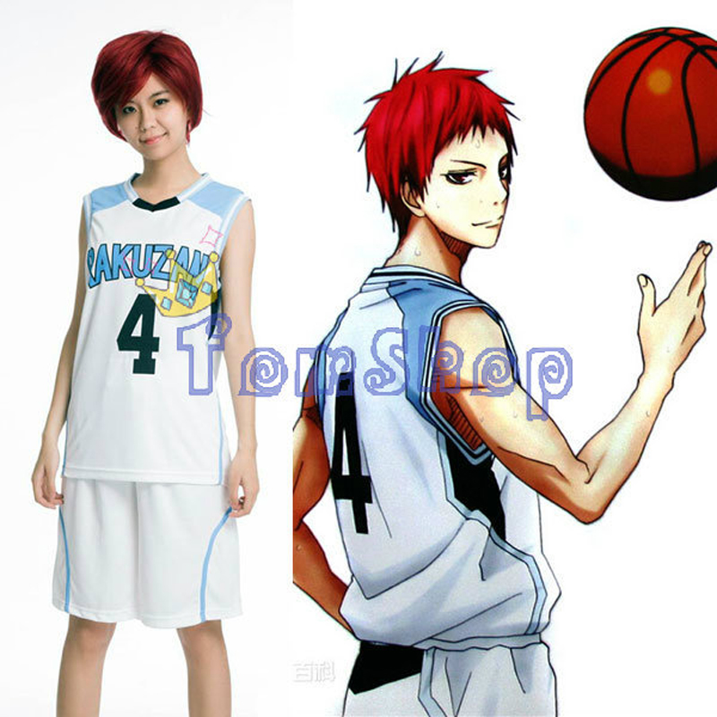New Kuroko no Basuke RAKUZAN #4 Akashi Seijuro Basketball Jersey + Shorts Whole Set Cosplay Costume Men's Sports Wear Uniform