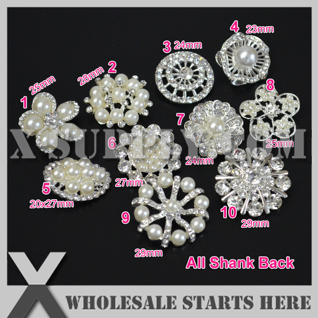 (20pcs lot) Silver Metal Rhinestone Embellishments Buttons with Shank for  Wedding Invitation d9a6c6969b2d