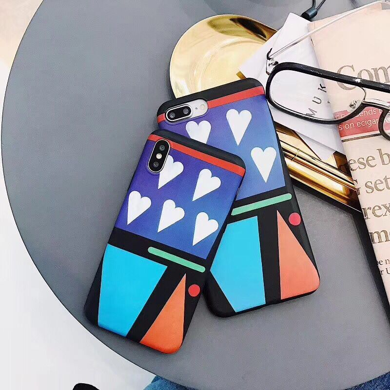 Luxury Suprem Love Heart Geometric Pattern Phone Case for iphone 6 6Plus S 7 7 plus 8 8Plus X phone cases coque