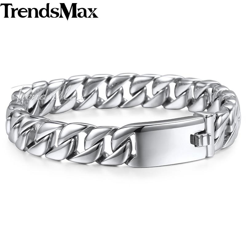 Trendsmax moda Nova vez veriga zapestnica iz nerjavečega jekla za moške težka 11MM široke moške zapestnice 2018 kolesarska veriga zapestnica HB139