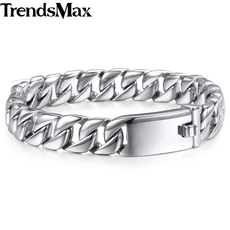 Trendsmax Fashion New Link Chain Stainless Steel Bracelet Men Heavy 12MM Wide Mens Bracelets 2018 Bicycle Chain Wristband HB139 trustylan shiny glossy 316l stainless steel mens bracelets 2018 20mm wide chain bracelets jewellery accessory man bracelet