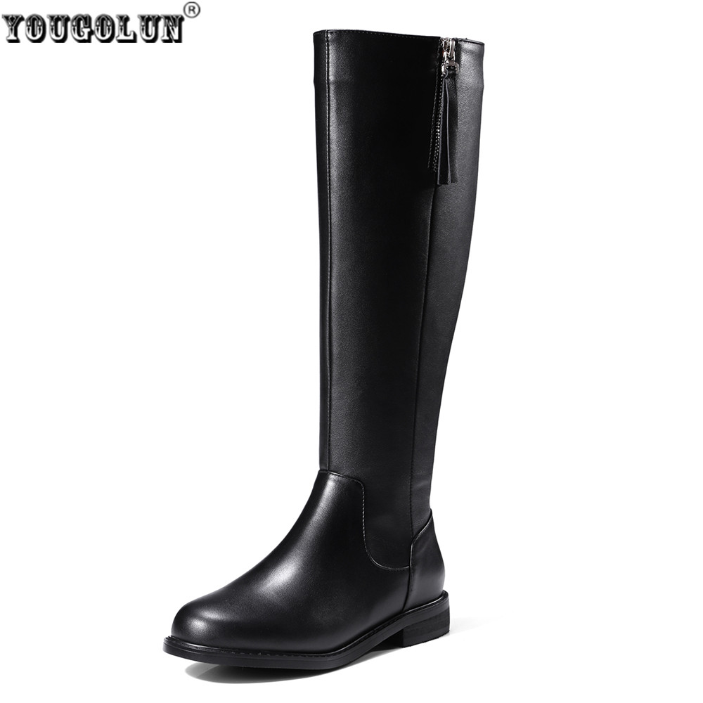 YOUGOLUN women knee high boots 2017 woman autumn winter thigh high boots low square heels genuine leather PU boots ladies shoes yougolun ladies fashion thigh high over the knee boots woman autumn winter womens female sexy nubuck suede leather women shoes