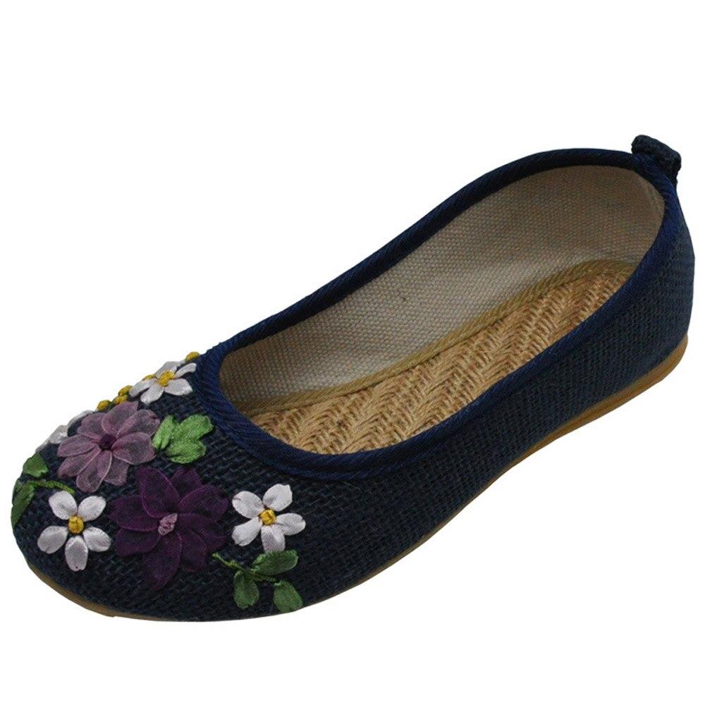 Bordado de Las Mujeres Zapatos de Los Planos más el tamaño 42 de La Vendimia Vie