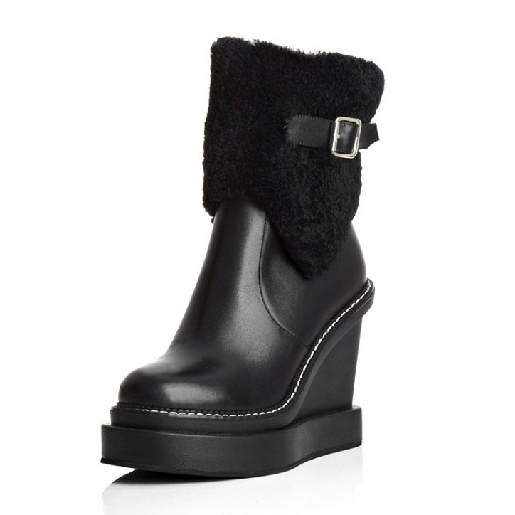 ФОТО Free shipping 2017 New women Autumn winter Boots Platforms wedges Ankle Boots Genuine leather Motorcycle snow Boots for women