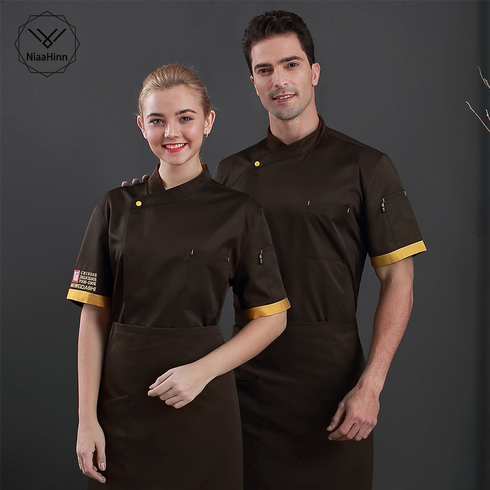 Chef's Overalls Men's Short-sleeved Restaurant Cook Uniform Women Cake Shop Bakery Canteen Plus Size Staff Work Clothes+apron(China)
