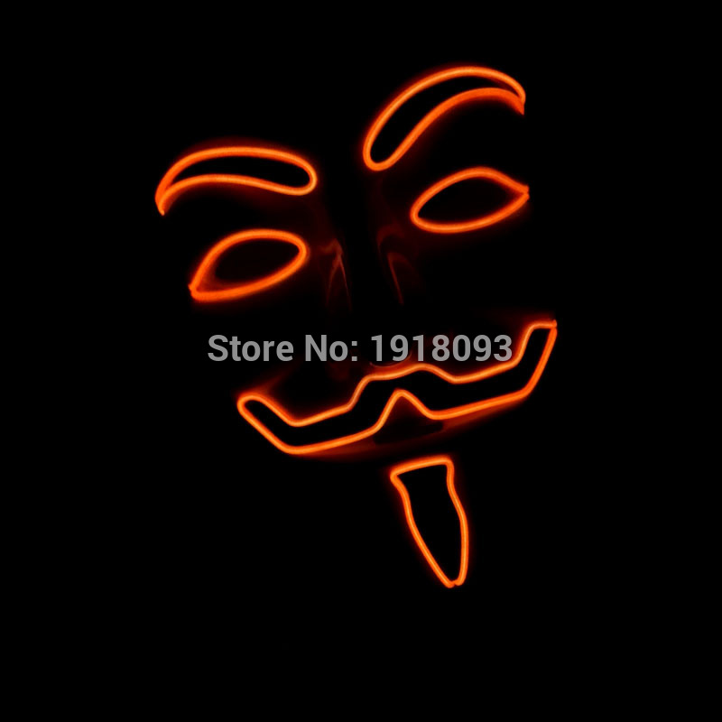 Hot EL Wire V Cosplay LED MASK Costume Guy Fawkes Mask Novelty Lighting For Party Supplies Decor+DC-3V Cell Box  Driver