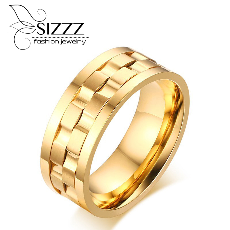 SIZZZ Spike Rings for Men Rotatable Wedding & Engagement Rings