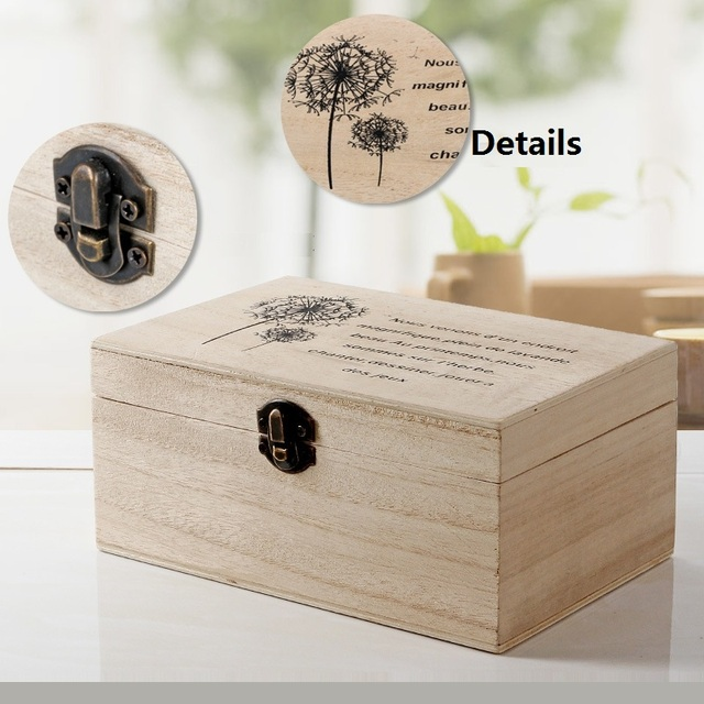 retro wooden box locked organizer jewelry case cosmetics storage box