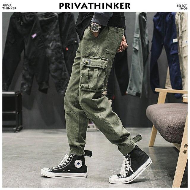 89fb442dcc Privathinker Uomo Nero Pantaloni Cargo 2018 Mens Giapponese Streetwear  Joogers Tasche Dei Maschili Autunno Cotone Moda Della Tuta