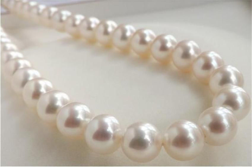 "FREE SHIPPINGHUGE AAA++ 9-10MM PERFECT ROUND SOUTH SEA GENUINE WHITE PEARL NECKLACE 18"" 14KGP"