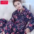 Primavera Inverno Anti Fria Keep Warm Mulheres Conjuntos de Pijama de Flanela Sleepcoat & Calças Femininas Térmicas Coral Fleece Roupas Para Casa