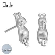 925 Sterling Cat Kitten Post Stud Earrings 3D Animal Jumping Kitty Charm Stud For Womens Gilrs Statement Femme Homme Jewelry