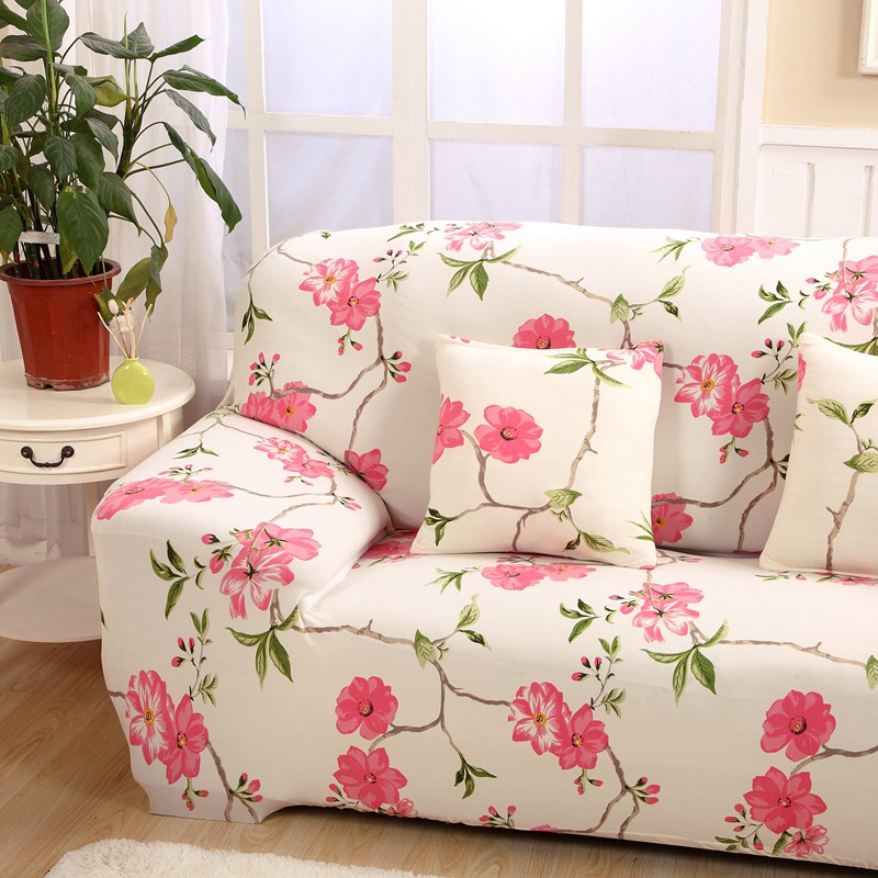 Pink Flowers Couch Sofa Covers For Living Room Loveseat Spandex ...