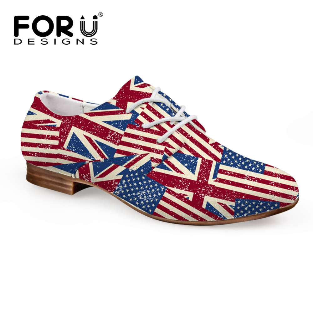 ФОТО FORUDESIGNS 3D USA UK Flags Pattern Oxford Shoes for Women Ladies Lace-up Flats Moccasins Oxfords Shoes Teenage Zapatos Mujer