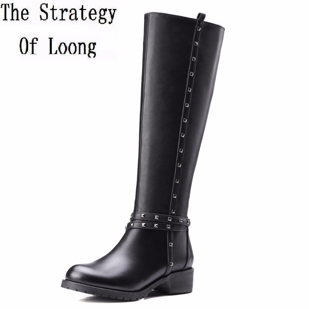 Women Short Plush Thick Warm Winter Genuine Leather Knee High Boots Fashion Rivets Round Toe Square Heels Long Boots 20170215 women leather short plush thick warm snow knee high boots fashion high heels lady knight boots new arrival big size boots