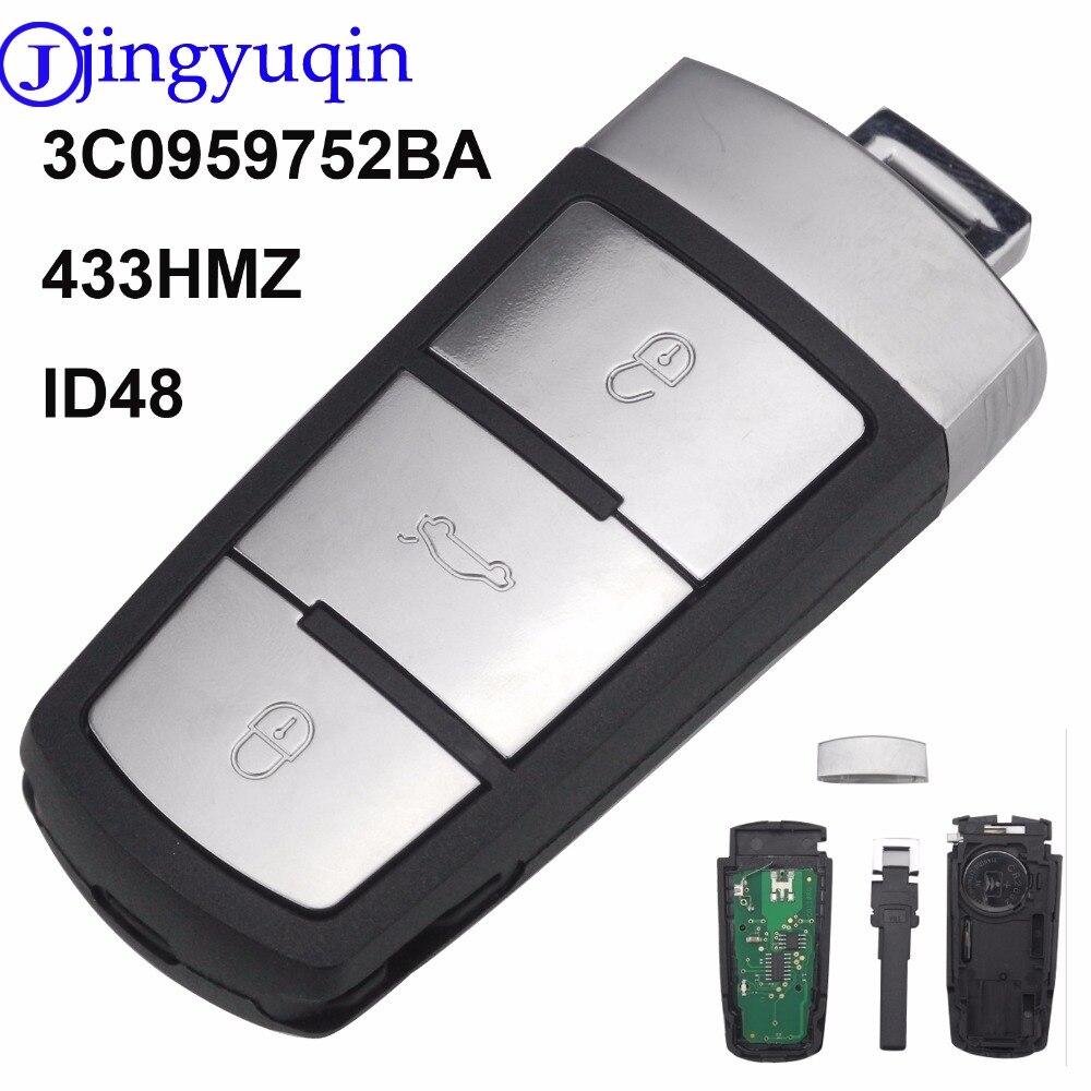 Jingyuqin 3 Boutons Entrée Fob DEMANDER 3C0959752BA ID48 À Distance De Voiture Shell Key Case Remplacement 433 mhz pour VW Passat CC clé de voiture