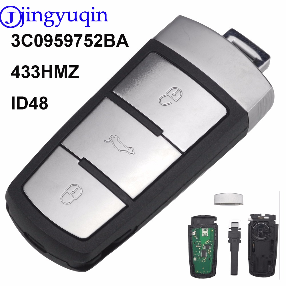 Jingyuqin 3 Buttons Entry Fob Ask 3c0959752ba Id48 Remote