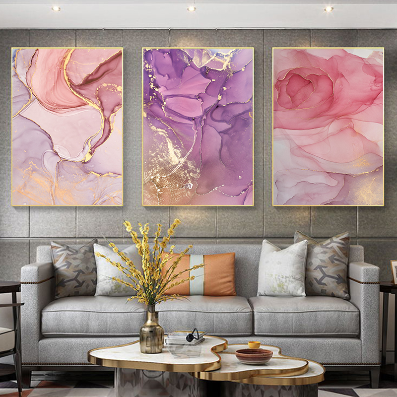 Modern Abstract Beautiful Colorful Golden Petals Ink Canvas Painting Wall Art Nordic Print Scandinavian Decoration Picture