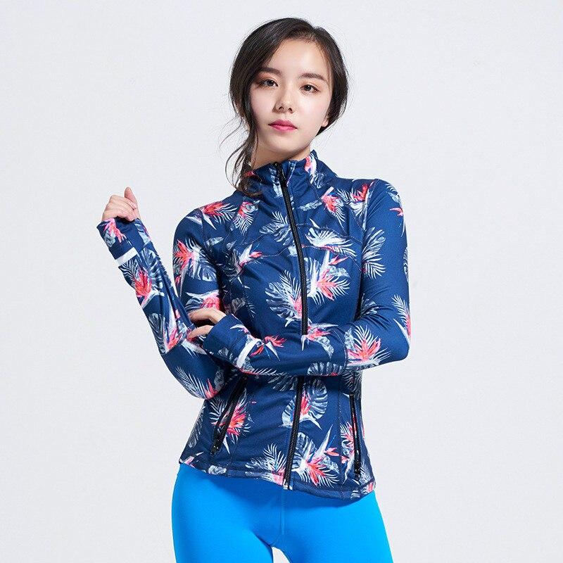 New Printed Yoga Sport Jacket Women Anti sweat Nylon Running Jogger Coat Elastic Fitness Jacket Top with Thumb Holes