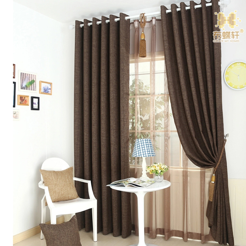 khaki bedroom curtains Modern Simple Style Solid khaki Blackout Blinds Drapes Luxury Chacolate Linen Curtains for