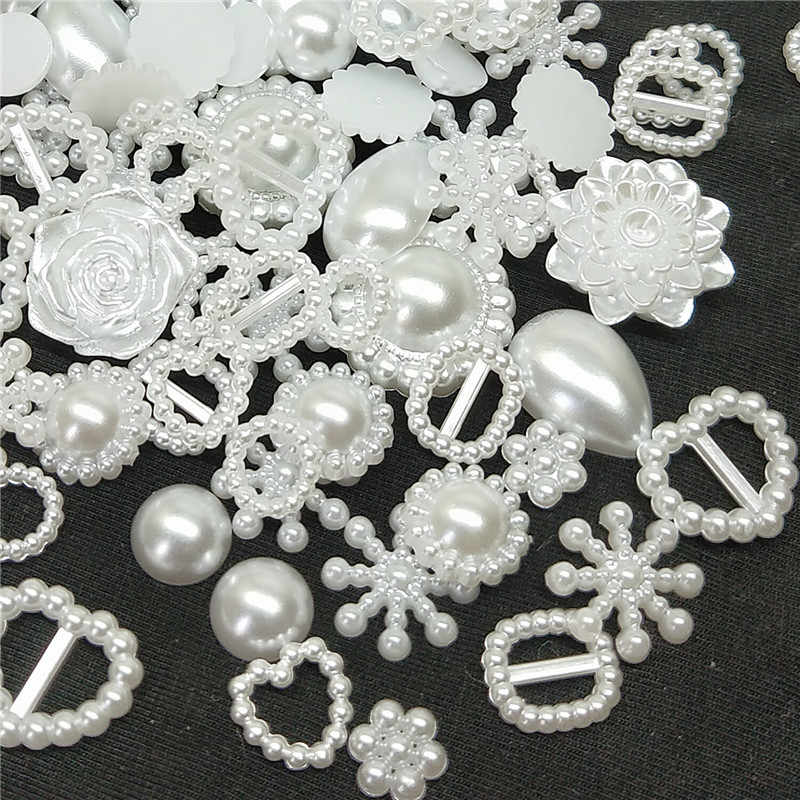 50/100pcs white ABS Resin Half Round flower Bow Alien Pearls For Art Flatback Non Hotfix Rhinestones Pearl Shoes Beads DIY Phone