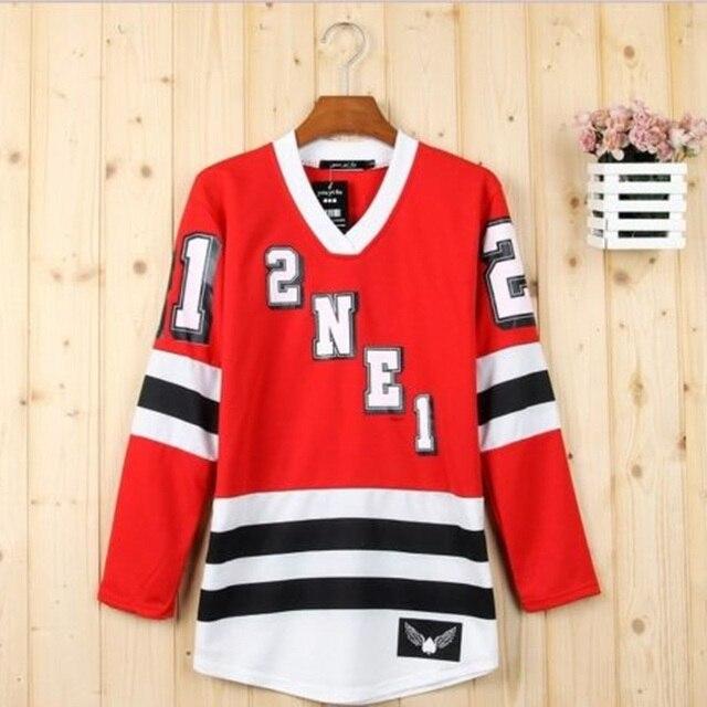 2NE1 CL BOM PARK DARA Minzy Concert Long Sleeve  KPOP Shirt Sudaderas Mujer Blusa Peplum Tops Red T-shirt Poleras