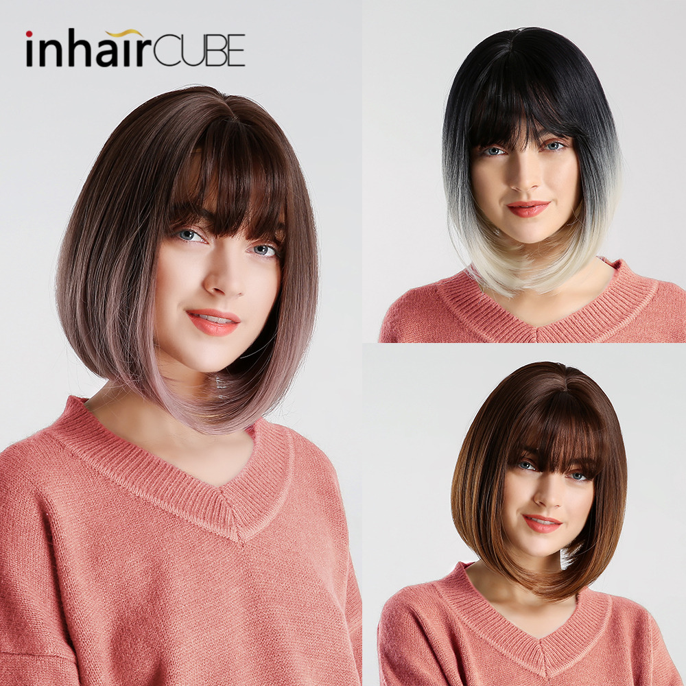Inhair Cube 10 Inches Bob Synthetic Flat Bangs Women Wig Ombre With Highlight Short Straight Hair Wig Cosplay Hairstyle Hair Extensions & Wigs