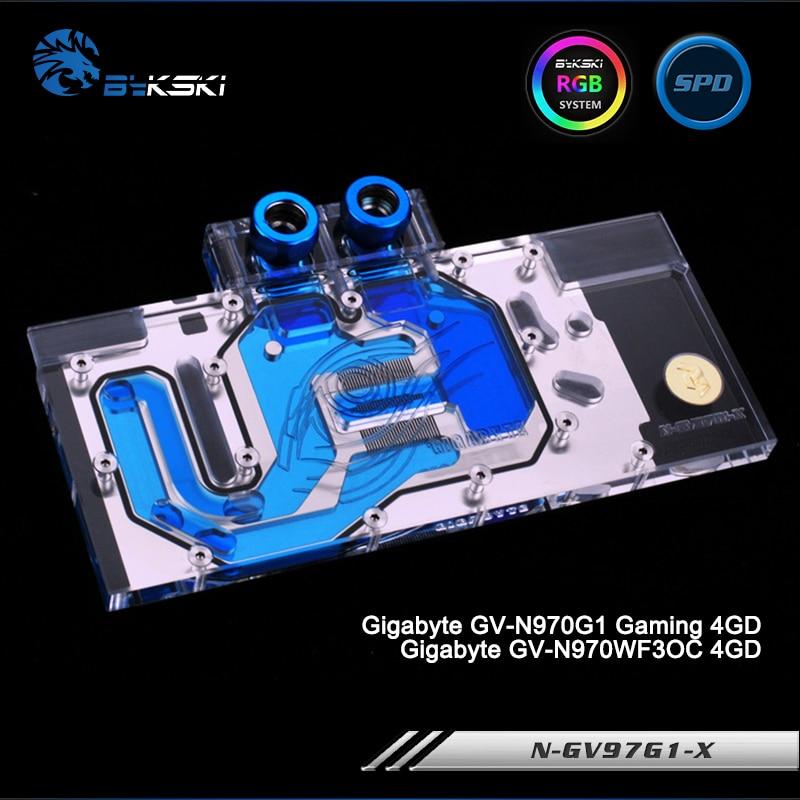 Bykski N-GV97G1-X Full Cover Graphics Card Water Cooling Block RGB/RBW/ARUA for Gigabyte GV-N970G1 Gaming/GV-N970WF3OC цена
