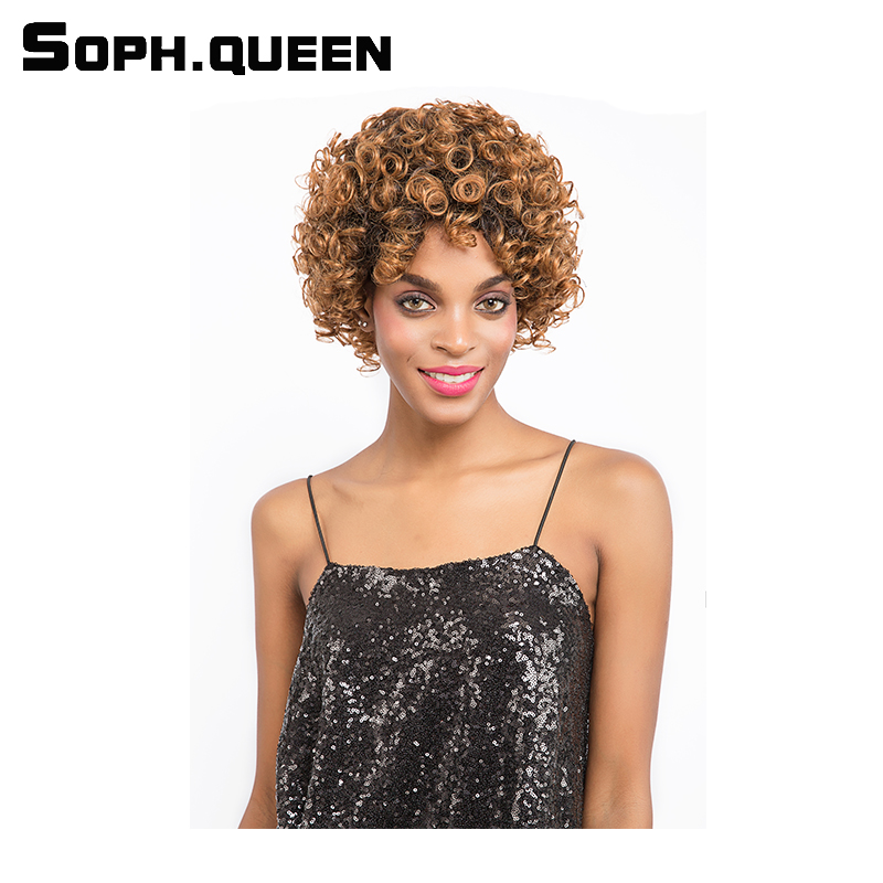#30 Curly Human Hair Wig Brazlian Remy Hair Short Human Hair Wigs For Black Women 8 Inch Lace Front Wig Machine Made Soph Queen