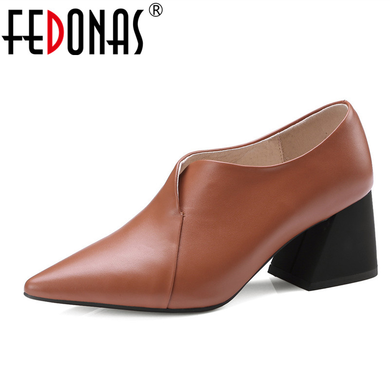 FEDONAS OL Woman Shoes Genuine Leather High Heels PumpsThick Heel Women's Work Dress Shoes Woman Pointed Toe Office &Career Pump new 2016 factory matte shoe women pointed toe red bottom low heel pump lady single ol work career spring fall shoes 678 2suede