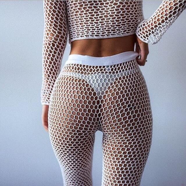 Geoksss Comprar Pantalones De Playa Malla Ganchillo Para Mujeres 2018 Verano Nuevo Bikini Elastico Cubrir Hasta Los Cintura Alta Largos Acampanados Fondos Natacion Online Baratos