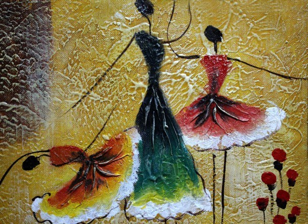 Free Shipping Handpainted Dancer Ballet Dancing Abstract