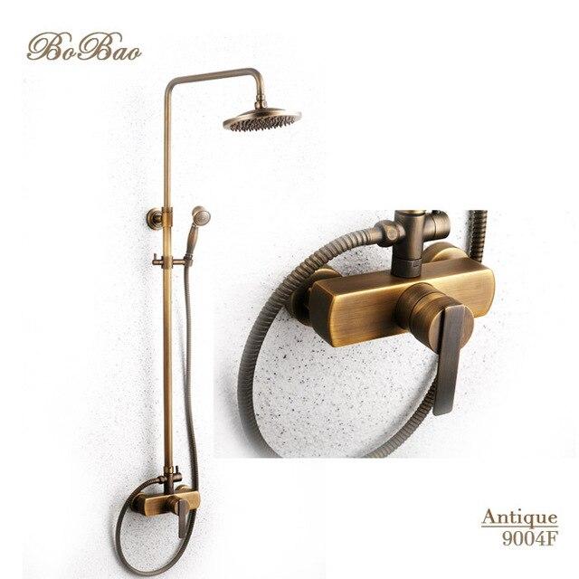 Modern Bronze Rain Shower Faucet Set Wall Mounted Antique Shower ...