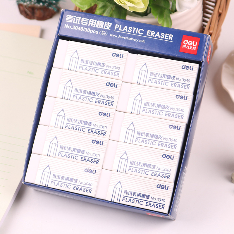1 Pack 30 Pcs 45 Pcs Promotion Plastic Pencil Eraser For Examination White Color Rubber Eraser 60x23x10mm Deli 3040 e cap aluminum 16v 22 2200uf electrolytic capacitors pack for diy project white 9 x 10 pcs