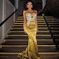 Charming Gold Long Evening Dresses Olesya Malinskaya 2017 Abendkleider Spaghetti Straps with Beads Mermaid  Robe De Soiree