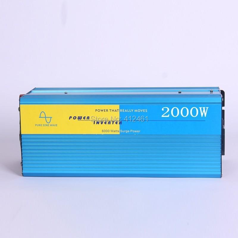 2000W Power Inverter Pure Sine Wave  DC 12V to AC 220V Solar/Wind/Car/Gas Power Generation Converter PSW inverter цена 2016