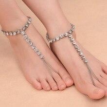 Women Rhinestone Crystal Boho Beach Chain Anklet Barefoot Sandals Foot Jewelry NEW