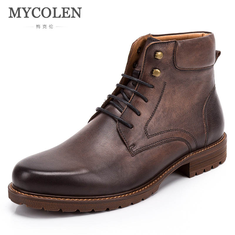 MYCOLEN Genuine Leather Men Boots Autumn Winter Ankle Boots Fashion Footwear Lace Up Snow Boots Men High Quality Men ShoesMYCOLEN Genuine Leather Men Boots Autumn Winter Ankle Boots Fashion Footwear Lace Up Snow Boots Men High Quality Men Shoes