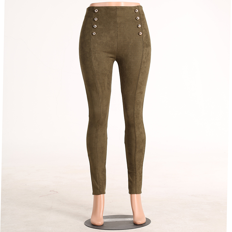 5 Color 2016 Autumn Winter Suede Skinny Pencil Pants Women High Waist Button Star Style Legging  Plus Size Army Green Trousers