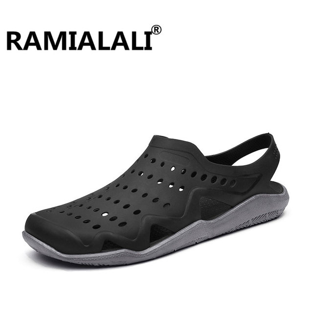 9587a3e2f Ramialali Beach Summer Style Men Sandals New Hollow Slippers Hole  Breathable Slip Garden Clogs Men s Water Sandals