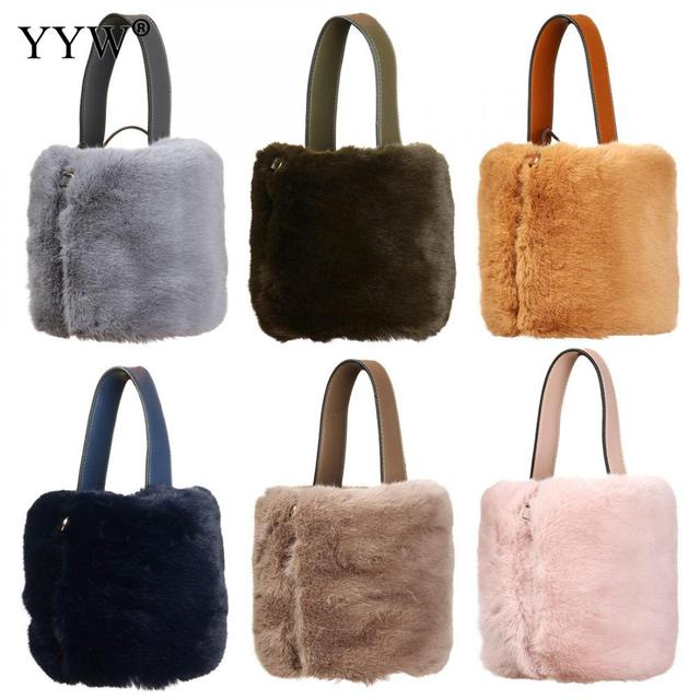2018 Designer Handbags Vintage Faux Fur Women Bag Solid Shoulder Bags New  Fur Bucket Shoulder Handbags 79262ec4fe234