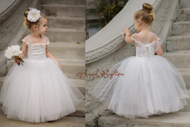 New Elegant Lace Appliques little girls Ball Gowns First Communion Dress  Flower Girl dresses Kids frock 0b85a811e