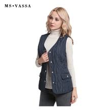 MS VASSA Women Vest New 2018 Autumn Spring waistcoat Ladies sleeveless jackets casual classic female vest plus size 5XL 7XL